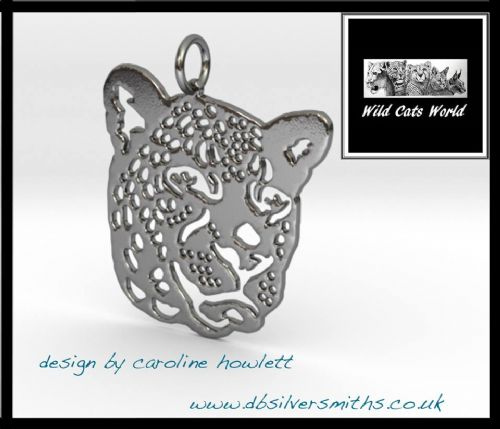 Leopard pendant sterling silver handmade by saw piercing Wild Cats World